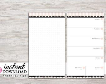 Planner Printable - Week on 1 Page with Notes Page - Undated - Filofax Personal - Kikki K Medium - 3.75 x 6.75 in - Design: Mademoiselle