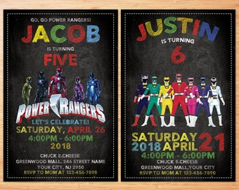 Power Ranger Invitation, Power Ranger Party, Power Ranger birthday invitation, Power Ranger invite, Power Rangers, Personalized Invitation