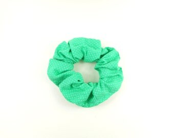 Scrunchie, tie hair, elastic hair - vintage - green and white dots