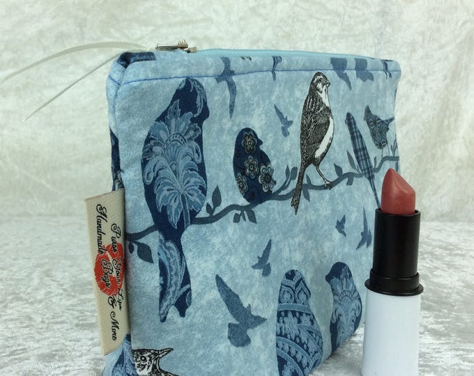 Blue Birds Zip Case Bag Pouch fabric Handmade in England