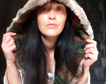 Luxury reversible Spirit Hood with green stripe wool, deluxe faux fur, large hippie hood, woodland nymph