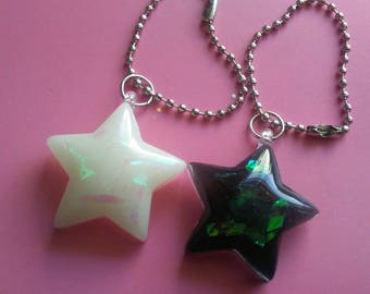 Kawaii Goth Stars - Resin Charms - Soft Grunge - Holographic - Iridescent - Keychains - Planner Charms - Space - Pastel Goth - Accessories