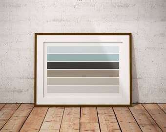 Swatch Studies #1 [art prints, wall art, home decor, office decor, color swatches, swatch studies, brown and blue, modern art, minimalism]