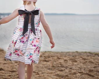 floral summer dress, watercolor floral dress, tie back dress, toddler dress, baby dress, girls dress