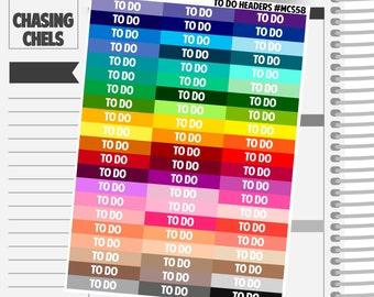 To Do Headers #MCS58 Premium Matte Planner Stickers