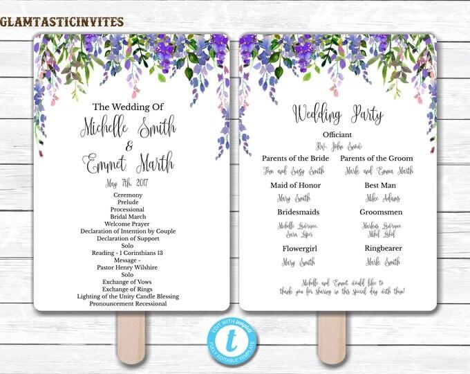 Wedding Fan Program Template, Floral Wedding Program Template, Ceremony Wedding Program, Wedding Fan, Wedding Template, Boho Wedding, Rustic