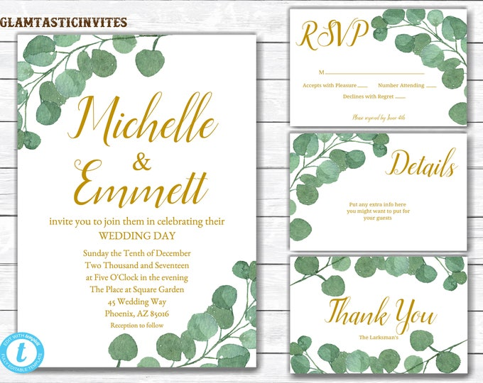 Wedding Invitation Template, Wedding Invitation, Greenery Wedding Invitation, Eucalyptus Wedding Invitation, Wedding Template, Printable