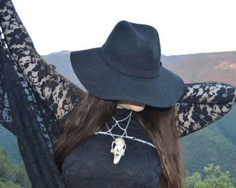 Pentagram silver color chain harness with a rabbit skull.