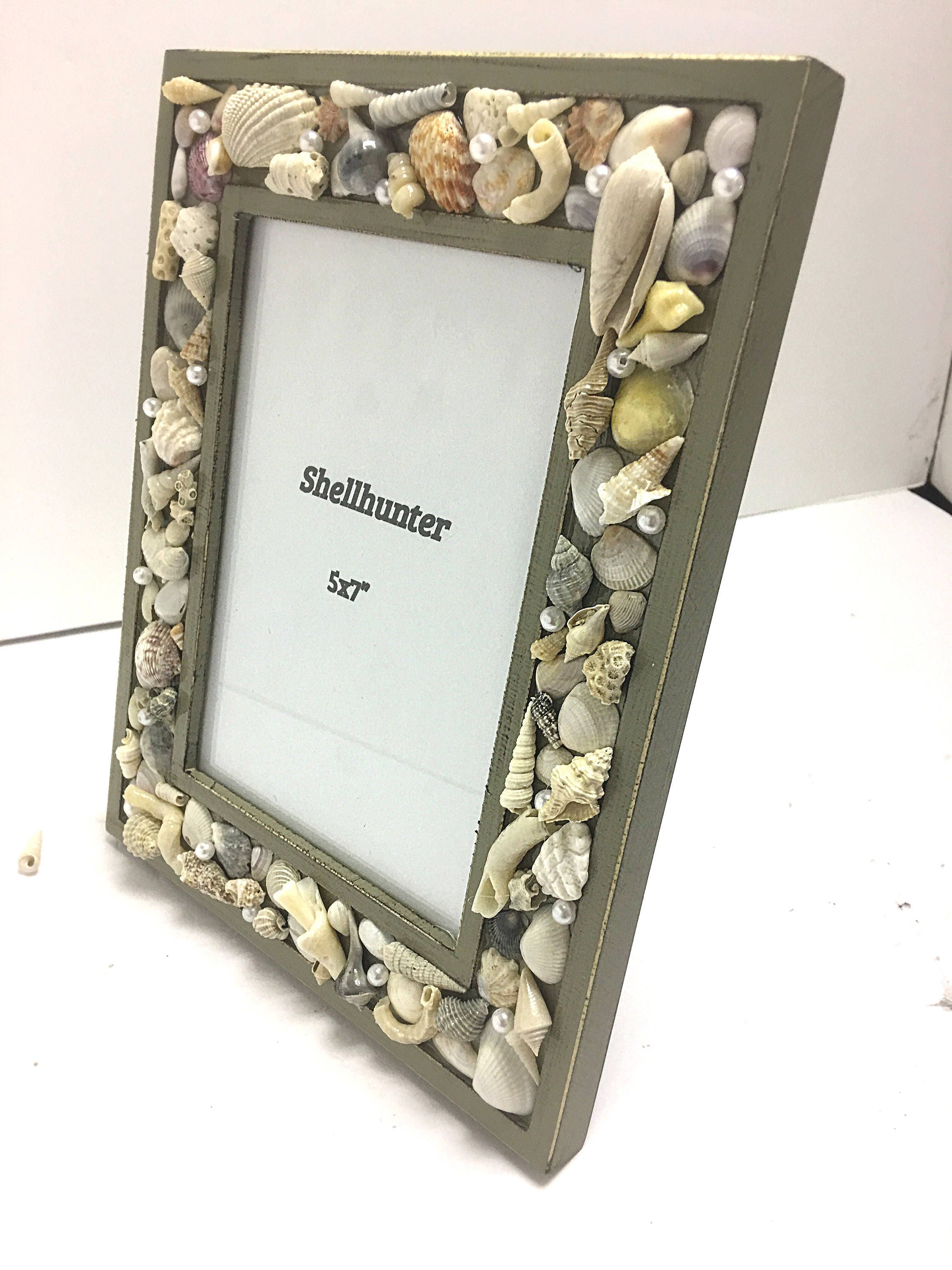 Beach frame 5 by 7 photo frame in olive green with seashells and gallery photo gallery photo jeuxipadfo Image collections