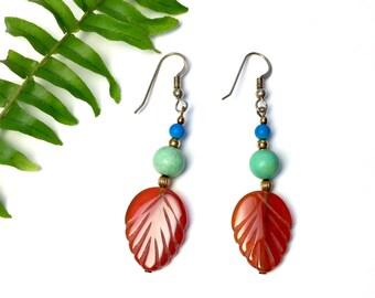 Sale 20% off Vintage jewelry, handmade earrings, carved Carnelian, Turquoise, drop earrings, dangle earrings, gemstone earrings