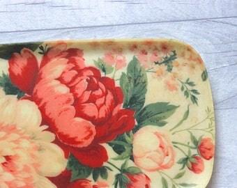 Vintage Floral Drinks Tray