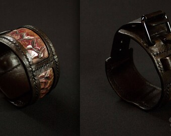 Bracelet leather & embossed copper scales