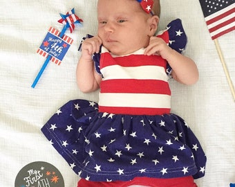 American Flag girls dress, white red blue dress, baby american flag dress,memorial day outfit,newborn american flag dress,4th of July outfit