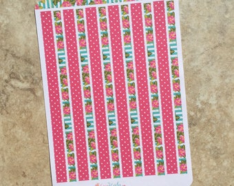 Summer Fun Decortive Sticker Strip Sheet: coordinates with Summer Fun Mini Sampler kit.