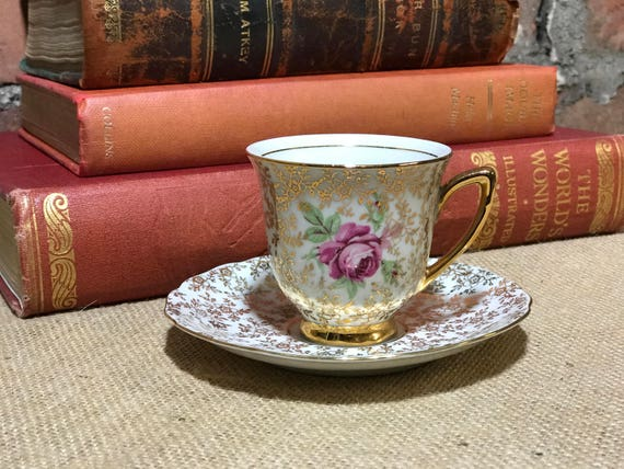 Demitasse Tea Cup and Saucer | Vintage Demitasse Teacup |  Expresso Cup Ceramic | Small Pink Roses Tea Cup | Czechoslovakian China
