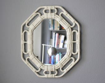 Vintage White Faux Bamboo Octagonal Hollywood Regency Mirror
