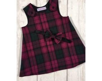 Tartan Pinafore Dress Vintage Tartan Dress Scotland Girls Pinafore Christmas Dress Girls Pinafore Dress Red Tartan Pinafore Baby Dress