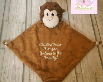 Personalized Baby snuggle Blanket Monkey