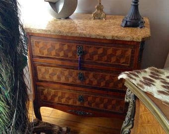 Antique French Parquetry Commode Chest, Louis XV, 3 Drawers, Golden Marble top