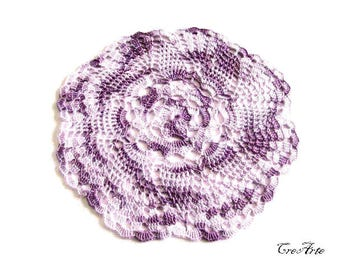 Purple Crochet Doily, Small Doily, Handmade Doily, Round Doily, Table decorations, Centrino piccolo