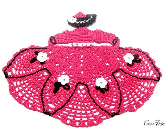 Crochet Crinoline Lady Doily, Hot Pink Crochet Lady, Dama uncinetto