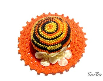 Orange Crochet Pincushion, Handmade Pincushion, Sewing accessories, Puntaspilli arancione