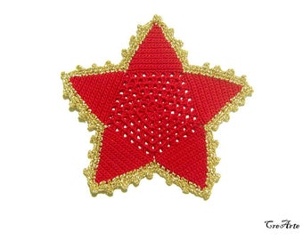 Red and Gold Christmas star coaster, Christmas coasters, Christmas table decoration, sottobicchiere stella rosso e oro per Natale