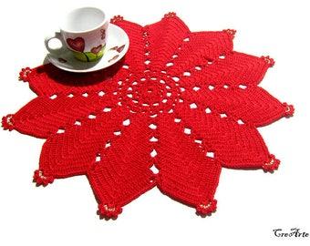 Red Christmas crochet star doily, Handmade Christmas doily, Centrino rosso di Natale a forma di stella