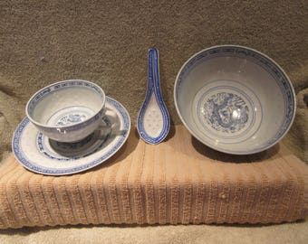 Chinaese Dragon Rice Eyes  Large Bowl , Spoon , Tea Cup and Saucer  Excellent condition All Have Vtg China Blue Markings