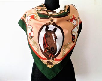 Horse Print Scarf,Equestrian scarf, Head horses scarf