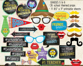 Photo Booth Props, UPPER ELEMENTARY, 5th grade, 6th grade, autumn, fall social, school, selfie station, printable sheets, instant download