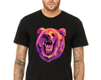 PREMIUM Cute Bear Republic Neon Bear Head T-shirt California Bear Nation Shirts