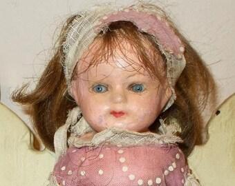 "On Sale 9"" Antique Primitive Paper Mache Shoulder Head Dollhouse Doll Human Hair Wig Straw Stuffed Body"