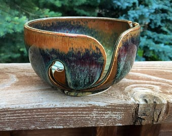 Seconds - Wheel-Thrown, Spiral Design, Hand-Carved, Two-Tone Yarn Bowl