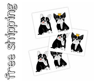 Set of 3 temporary tattoos «Bulldogs». Kids body stickers with funny bulldogs, pet, dog, crown. Playdate and party bag supply. TT200