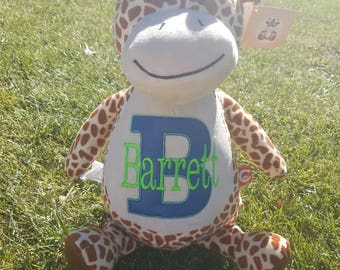 Giarrafe cubbie, brown giarrafe stuffed animal, personalized giarrafe, custom embroidery, embroidery cubbie, giarrafe cubbie, baby gift