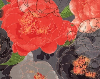 Moda BLUSHING PEONIES Quilt Fabric 1/2 Yard By Robin Pickens - Charcoal 48610 18