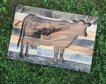 Rustic Cow Silhouette Wood Wall Art