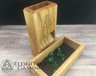 Premium Dice Tower with dice storage - Red Oak - Eldertree Gaming