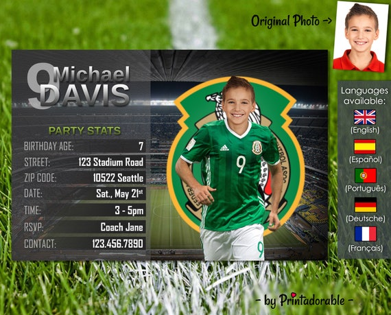 Soccer Invitation - Mexico Football Invite - Digital Birthday Printables - Customizable face and team - Choose your team!