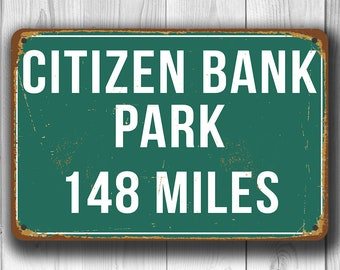 CITIZEN BANK PARK Distance Sign, Philadelphia Phillies Sign, Highway Distance Sign, Miles, Personalized Phillies Gift, Philadelphia Phillies