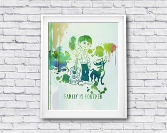 "Family is forever COCO watercolor Murals ,8""x10""  JPEG & PDF file , Inspirational Quote,Digital Prints,Wall Art Prints"