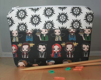 Supernatural Zip Top Notions Pouch, Knitting or Crocheting Accessories Bag, Cosmetics Case