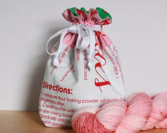 White & Pink Gingerbread Cookies Recipe Drawstring Project Bag - Christmas in July SALE, Knitting Bag, Crochet Bag