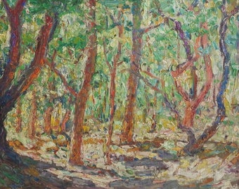 Oil on Canvas of a path through a wood in the by Anton Erkelens (1885-1956)