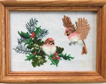 Christmas Birds Cross Stitched Picture