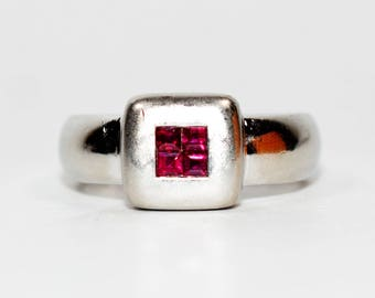 40% OFF SALE with free resizing!! Modern Designed .43tcw Ruby Platinum Ring