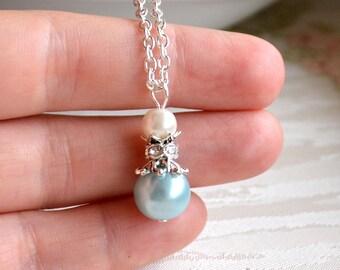 Light blue necklace Blue bridesmaid necklace Bridesmaid jewelry Light blue Wedding jewelry Blue Bridesmaid gift Blue jewelry