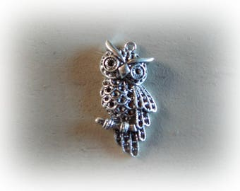 2 charm OWL pendant / OWL silverplate 40 * 20 mm