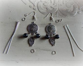 Kit earrings silver chandelier earrings, black beads and OWL charms